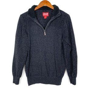 Coleman Gray Knit 1/4 Zip Sherpa Collar Sweater